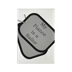 My Fiance is a Sailor dog tag Rectangle Magnet (1