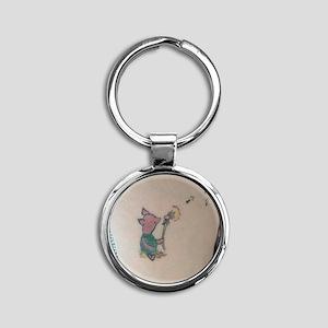 piglet Round Keychain