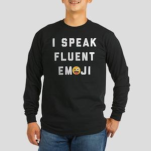 I Speak Fluent Emoji Long Sleeve Dark T-Shirt