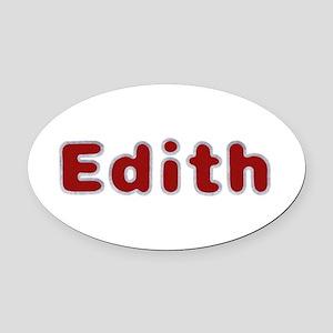 Edith Santa Fur Oval Car Magnet