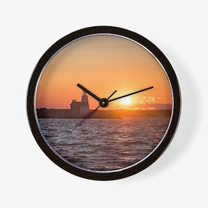 Sunset at Execution Rock Lighthouse Wall Clock