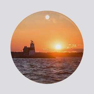 Sunset at Execution Rock Lighthouse Round Ornament