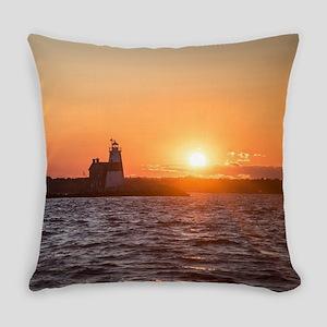 Sunset at Execution Rock Lighthous Everyday Pillow