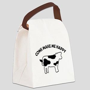 Cows Make Me Happy Canvas Lunch Bag