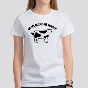 Cows Make Me Happy Women's Classic White T-Shirt