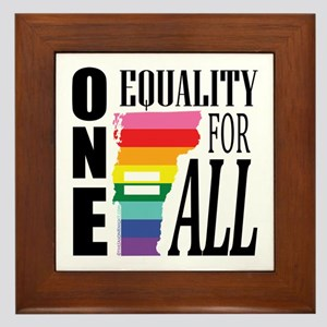 Vermont one equality blk font Framed Tile