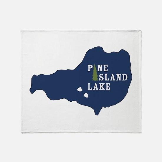 Pine Island Lake logo with island Throw Blanket