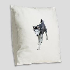 Husky Burlap Throw Pillow