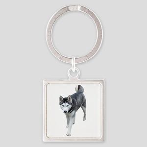 Husky Square Keychain