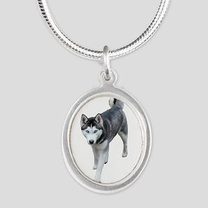 Husky Silver Oval Necklace