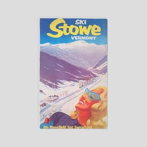 Ski Stowe Vermont Vintage Poster Area Rug