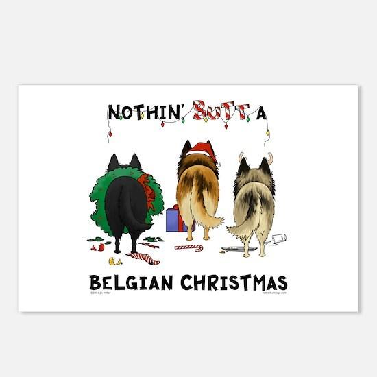 Nothin' Butt A Belgian Xmas Postcards-Pk of 8
