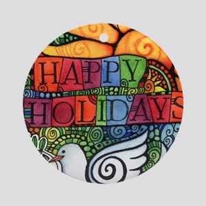 Happy Holiday Peace Dove Ornament (Round)