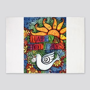 Happy Holidays Christmas Peace Dove 5'x7'Area Rug