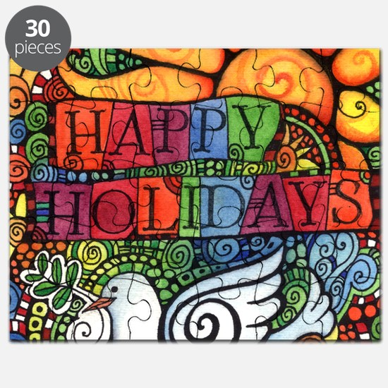 Happy Holidays Christmas Peace Dove Puzzle