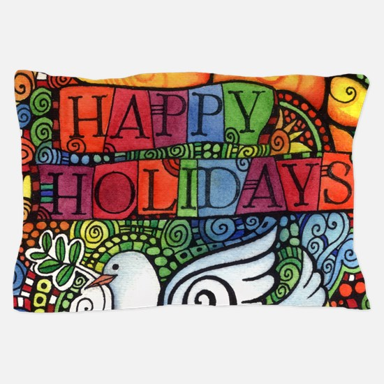 Happy Holidays Christmas Peace Dove Pillow Case