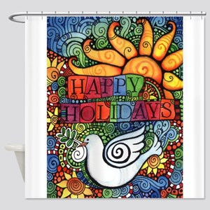Happy Holidays Christmas Peace Dove Shower Curtain