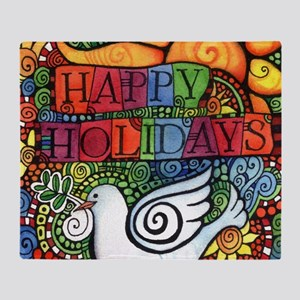 Happy Holidays Christmas Peace Dove Throw Blanket