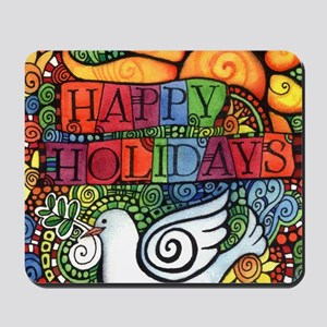 Happy Holidays Christmas Peace Dove Mousepad