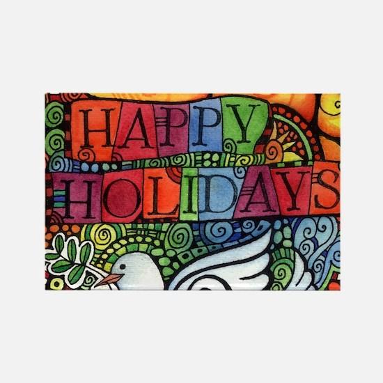 Happy Holidays Christmas Peace Do Rectangle Magnet