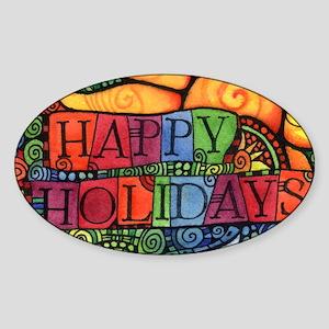 Happy Holidays Christmas Peace Dove Sticker (Oval)