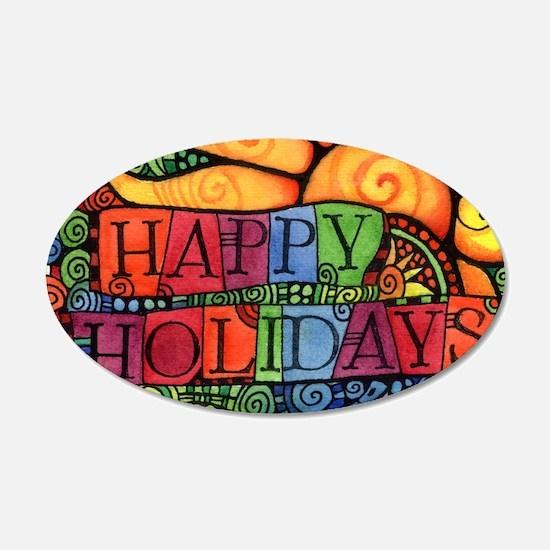 Happy Holidays Christmas Pea Wall Sticker