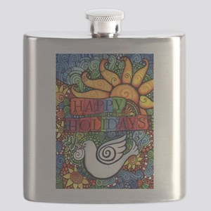 Happy Holidays Christmas Peace Dove Flask