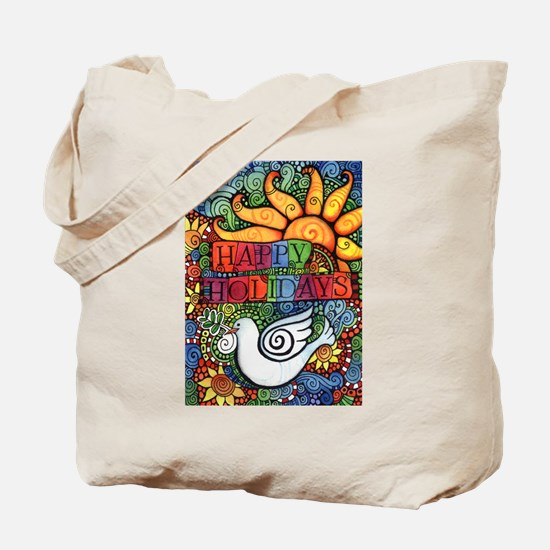 Happy Holidays Christmas Peace Dove Tote Bag