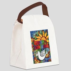 Happy Holidays Christmas Peace Do Canvas Lunch Bag