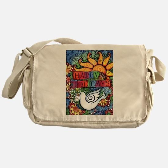 Happy Holidays Christmas Peace Dove Messenger Bag