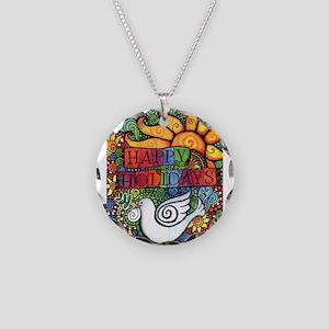 Happy Holidays Christmas Pea Necklace Circle Charm