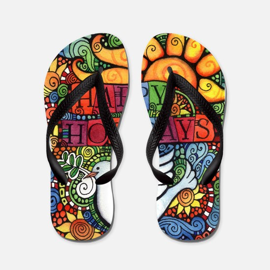 Happy Holidays Christmas Peace Dove Flip Flops
