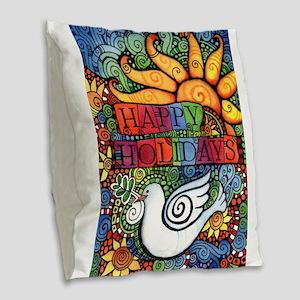 Happy Holidays Christmas Peace Burlap Throw Pillow