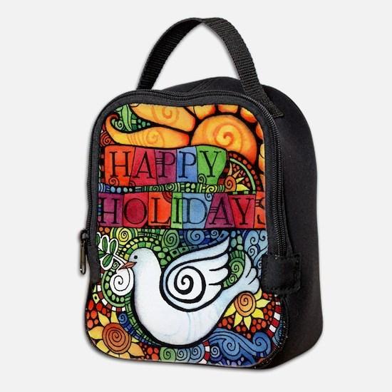 Happy Holidays Christmas Peace Neoprene Lunch Bag