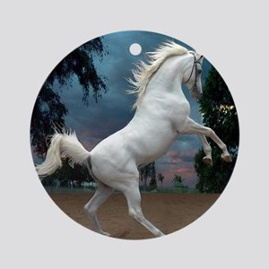 The White Stallion Ornament (Round)
