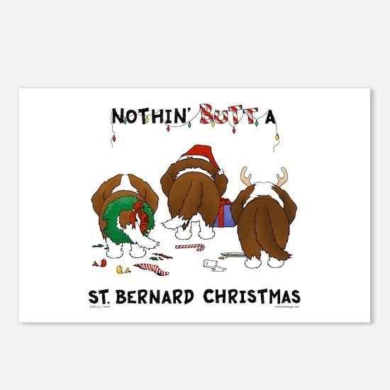 St. Bernard Christmas Postcards (Package of 8)