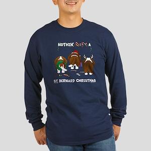 St. Bernard Christmas Long Sleeve Dark T-Shirt