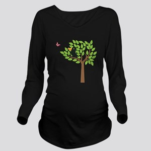 Crow In A Tree Long Sleeve Maternity T-Shirt