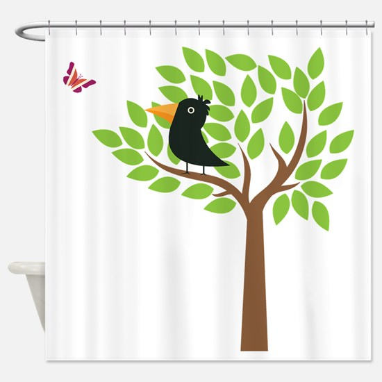 Crow In A Tree Shower Curtain
