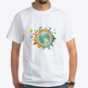 World Travel Landmarks White T-Shirt