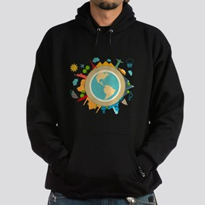 World Travel Landmarks Hoodie (dark)