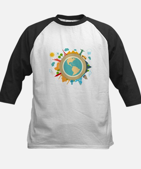 World Travel Landmarks Kids Baseball Jersey
