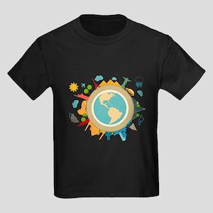 World Travel Landmarks Kids Dark T-Shirt