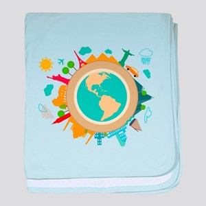 World Travel Landmarks baby blanket