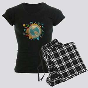 World Travel Landmarks Women's Dark Pajamas
