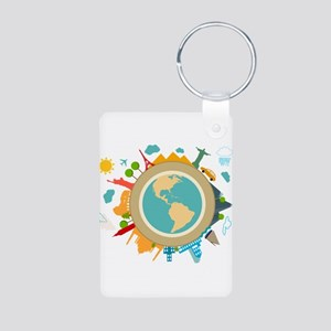 World Travel Landmarks Aluminum Photo Keychain