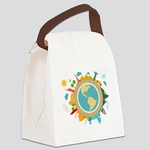 World Travel Landmarks Canvas Lunch Bag