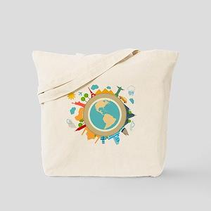 World Travel Landmarks Tote Bag