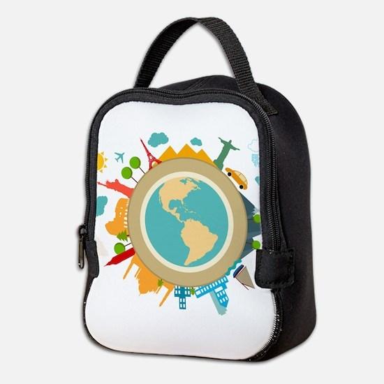 World Travel Landmarks Neoprene Lunch Bag