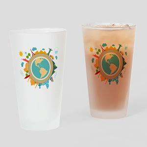 World Travel Landmarks Drinking Glass